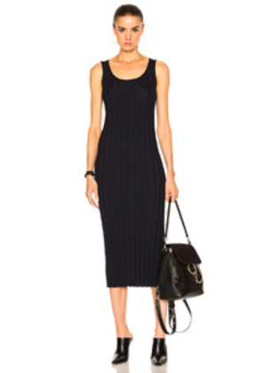 Ryan Roche Ribbed Tank Dress in Blue