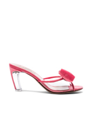 Valentino Velvet Glassglow Removable Bow Mules in Pink