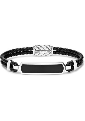 David Yurman - Woven Leather, Sterling Silver And Onyx Bracelet - Black