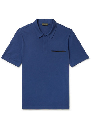 Leather-trimmed Cotton, Wool And Cashmere-blend Piqué Polo Shirt
