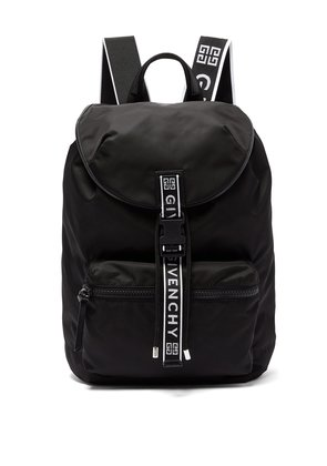 Light 3 leather-trimmed nylon backpack