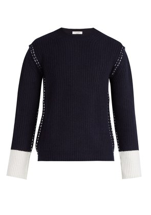 Contrast cuff wool and cashmere knit sweater