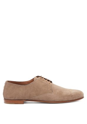 Round-toe suede derby shoes