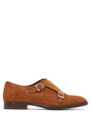 Tate double monk-strap suede shoes