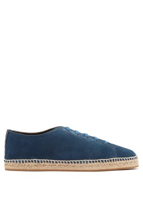 Intrecciato leather-trimmed suede trainers