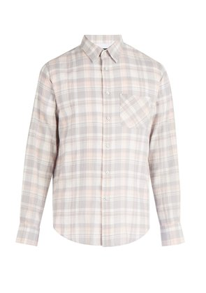 Beach plaid cotton flannel shirt