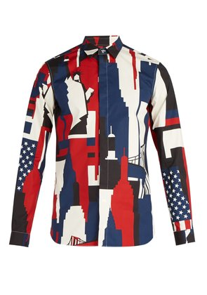 New York-print cotton shirt