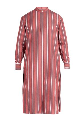 Striped cotton-blend tunic shirt