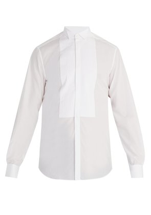 Wingtip-collar single-cuff cotton shirt