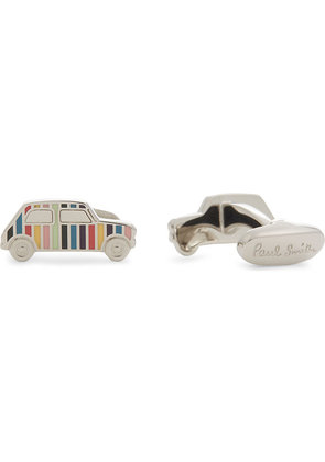 Paul Smith Mens Silver Striped Iconic Cufflinks