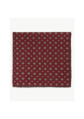 Check floral cotton-wool pocket square