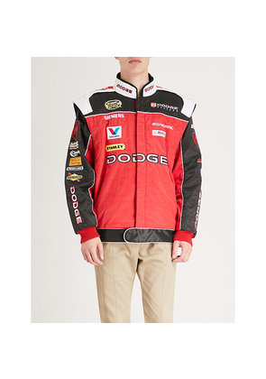 Dodge padded textured cotton-blend racing jacket