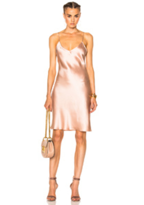 ThePerfext for FWRD Alessandra Short Slip Dress in Neutrals,Pink