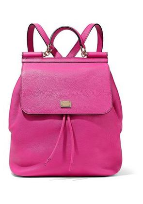 Dolce & Gabbana Woman Sicily Pebbled-leather Backpack Bright Pink Size -