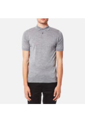 John Smedley Men's Payton 30 Gauge Merino Short Sleeve Polo Shirt - Silver - M - Grey