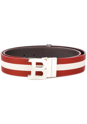 Bally letter buckle striped belt - Red
