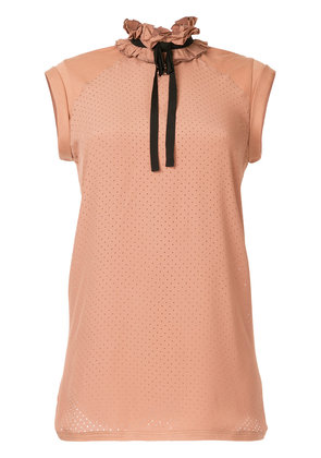 No21 ruffle neck perforated blouse - Pink & Purple