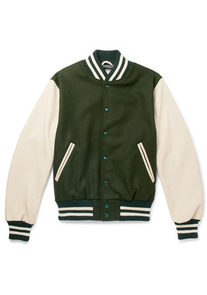 Golden Bear - Virgin Wool-blend And Leather Bomber Jacket - Green