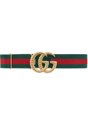 Gucci Web elastic belt with torchon Double G buckle - Green