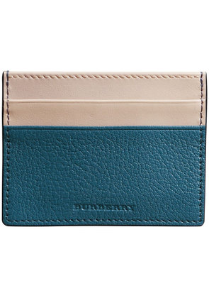 Burberry Two-tone Leather Card Case - Blue