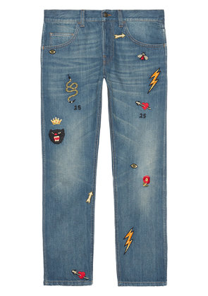 Gucci Tapered denim pant with symbols - Blue