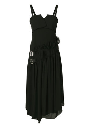 Jil Sander frilled belted midi dress - Black