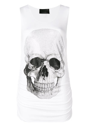 Philipp Plein Strass Skull tank top - White