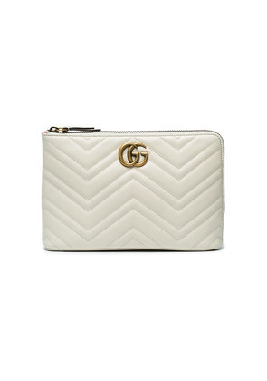 Gucci White GG marmont 2.0 Leather Pouch - Nude & Neutrals