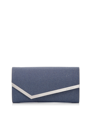 EMMIE Navy Fine Glitter Leather Clutch Bag