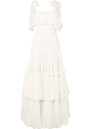 Dolce & Gabbana - Tiered Ruffled Silk-chiffon Gown - White