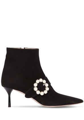 65MM EMBELLISHED BUCKLE SUEDE ANKLE BOOT