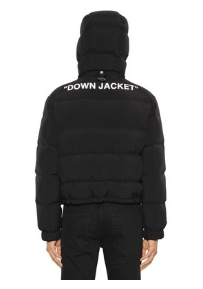 SLIM FIT CROP TECH FABRIC DOWN JACKET