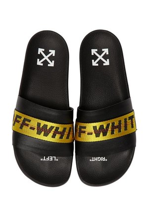 LOGO WEBBING LEATHER SLIDE SANDALS