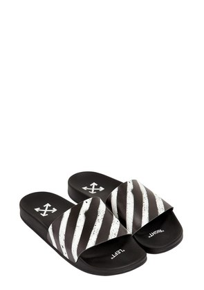 SPRAY STRIPES SLIDE SANDALS