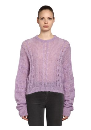 SHEER MOHAIR BLEND CABLE KNIT SWEATER