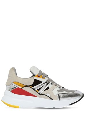 50MM METALLIC LEATHER & SUEDE SNEAKERS