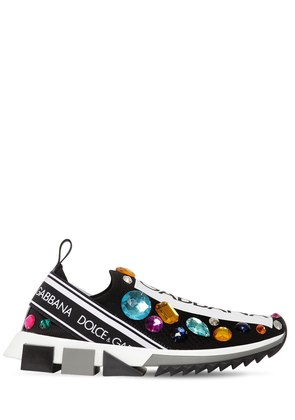 30MM LOGO & CRYSTALS KNIT SNEAKERS