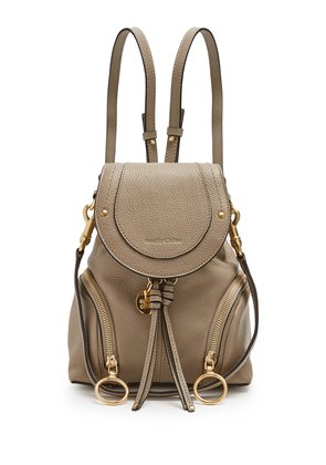 Olga grained-leather backpack