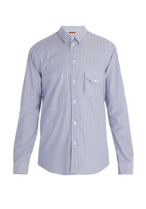 Point collar striped cotton shirt