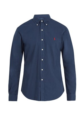Logo-embroidered oxford-cotton shirt