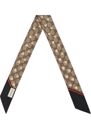 Gucci GG bees silk neck bow - Brown