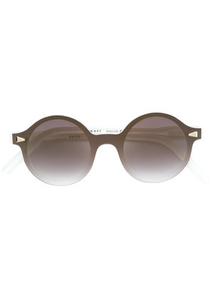 Snob silver stud trimmed round sunglasses - Brown