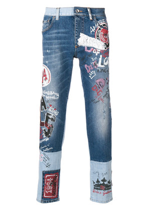 Dolce & Gabbana mural print two tone jeans - Blue