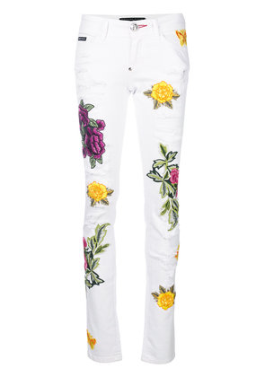 Philipp Plein floral appliqué distressed slim fit jeans - White