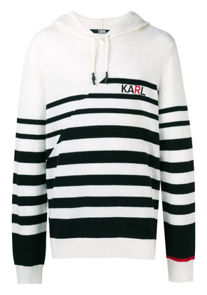 Karl Lagerfeld striped knitted logo hoodie - White