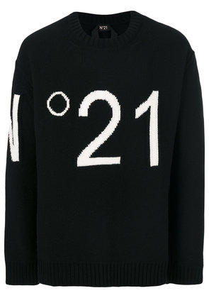 No21 logo embroidered sweater - Black