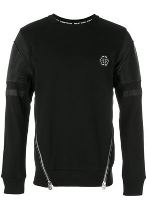Philipp Plein zipped biker patch sweatshirt - Black