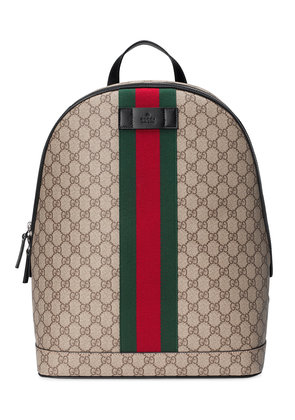 Gucci GG Supreme backpack with Web - Nude & Neutrals