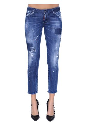 JENNIFER PATCHES CROPPED DENIM JEANS