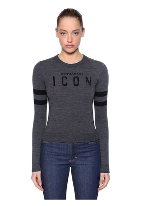 ICON FLOCKED WOOL BLEND KNIT SWEATER